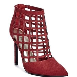 GUESS DALENEY STILETTO RED SUEDE CAGE CLOSED TOE 9